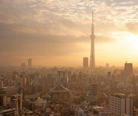 Take a sunset helicopter cruise over Tokyo