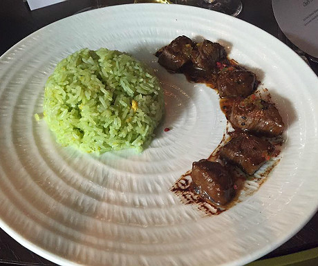 Wagyu beef tenderloin, mildly spiced green pepper sauce, ginger-scallion fried rice