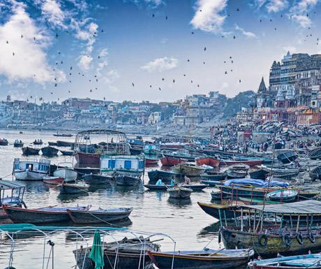 The ghats in Varanasi, India