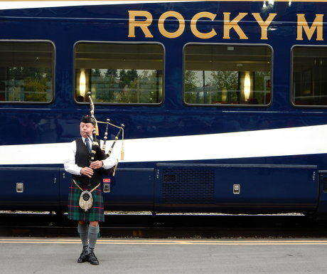 Vancouver Rocky Mountaineer bagpiper