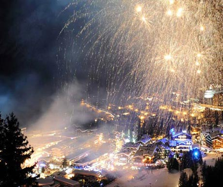 Firework celebrations at NY in Courchevel