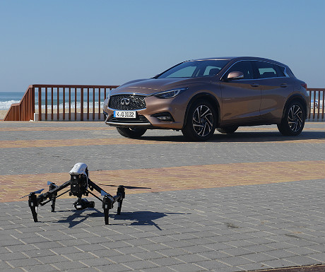 Infiniti Q30 and drone