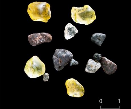 Saint Paul, La Reunion volcanic sand grain sample