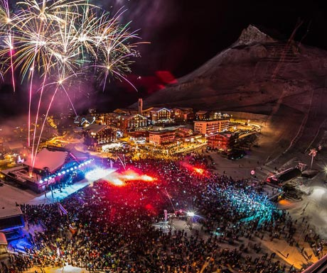 Firework display in Tignes at New Year