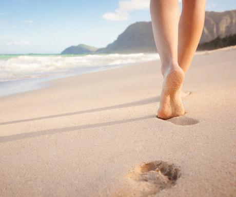 Low angle - beach footprints