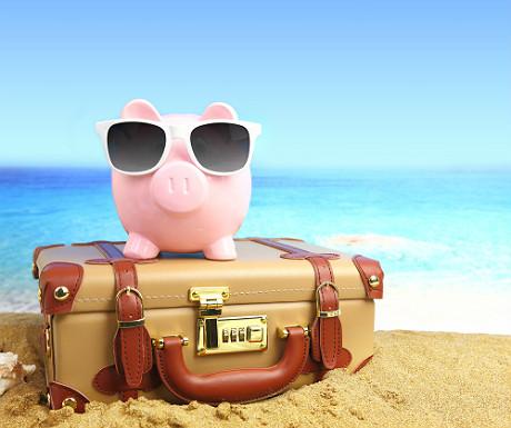 Piggy bank on beach