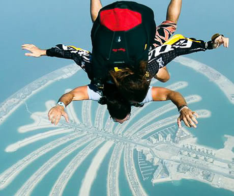 Skydiving over the Palm in Dubai
