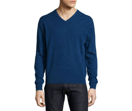 Navy cashmere v-neck sweater from Neiman Marcus