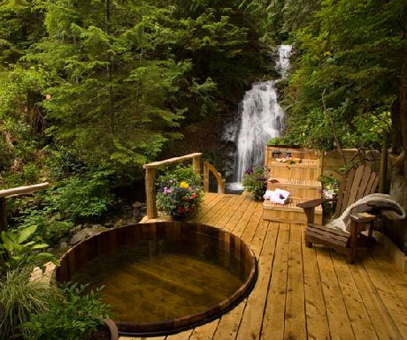 Nimmo Bay hot tub and waterfall