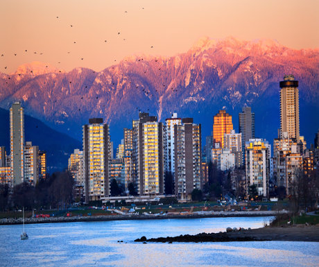 Vancouver Skyline Harbor English Bay Birds Snow Mountains Sunset