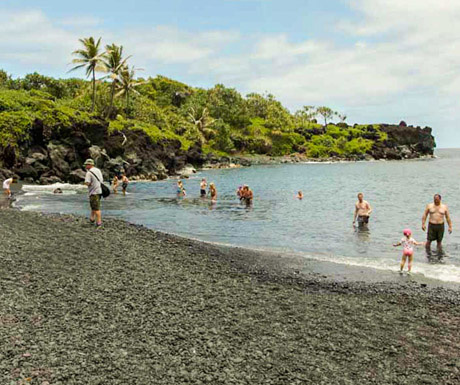 Hana Black Sand Beach People Swimming