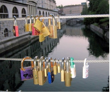 Love lock bridge Slovenia