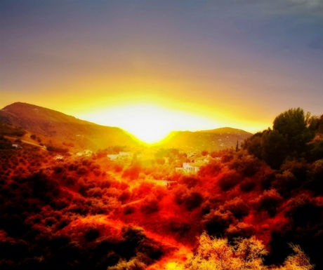 Frigiliana sunset over mountains-1