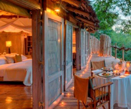 Lake Manyara Tree Lodge bedroom and verandah