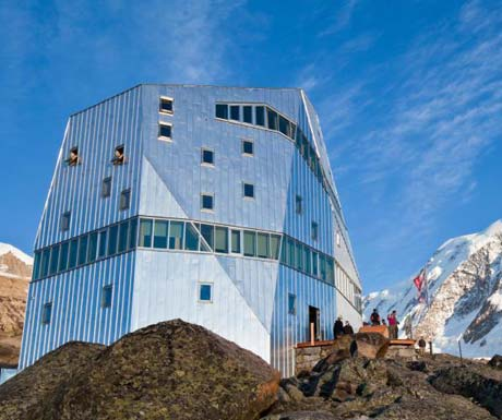 Modern architecture on the mountain in summer