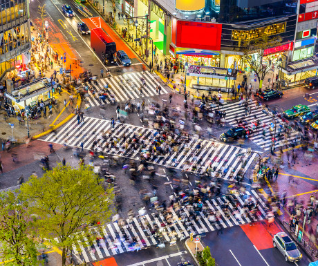 View of shibuya crossing one of the busiest crosswalks in the world 289571369