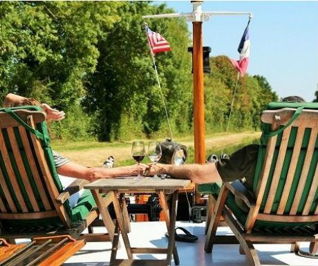 luxury barge cruise Burgundy relaxing onboard