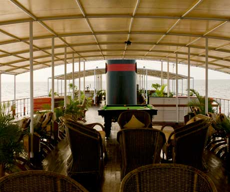 A deck on an elegant Pandaw vessel