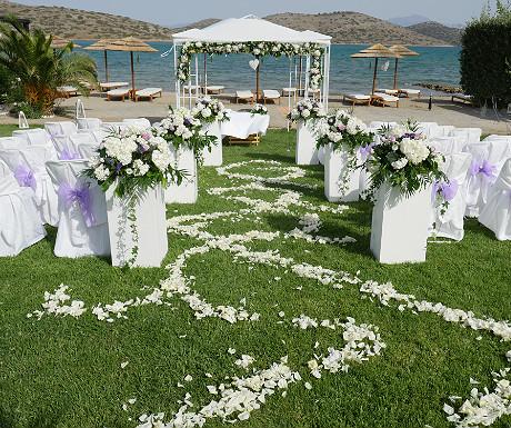 Beach wedding from the ground