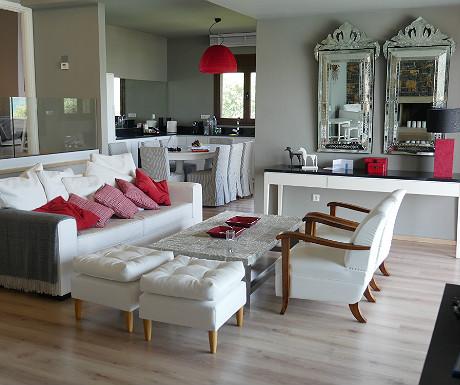 Elounda Villa living space and kitchen
