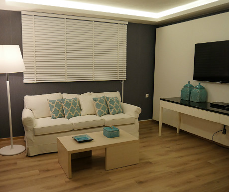 Elounda Villa master bedroom living space