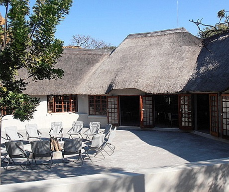 Lounge and boma gathering places at Monate Game Lodge
