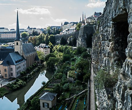 Luxembourg-Alzette River and fortification ruins