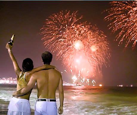 Champagne on Copacabana Beach at New Year