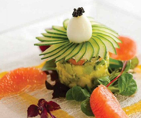 Crab lobster prawn and avocado tian