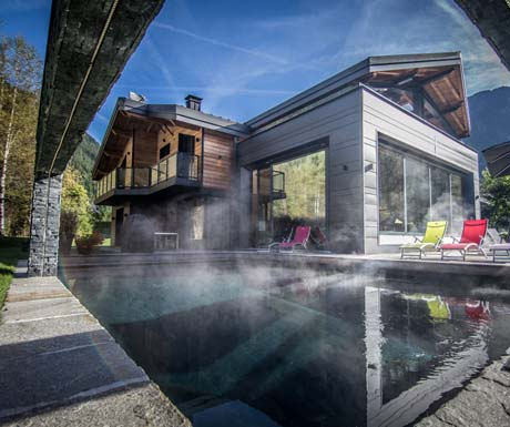 Outdoor pool at chalet dalmore