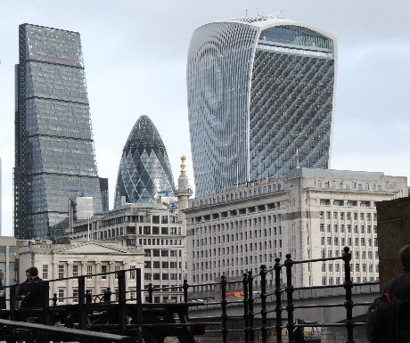 London, old and new: Cheese-Gater, Gurcon, Walkie-Talkie