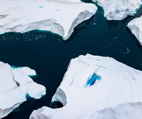 aerial photography Greenland massive icebergs
