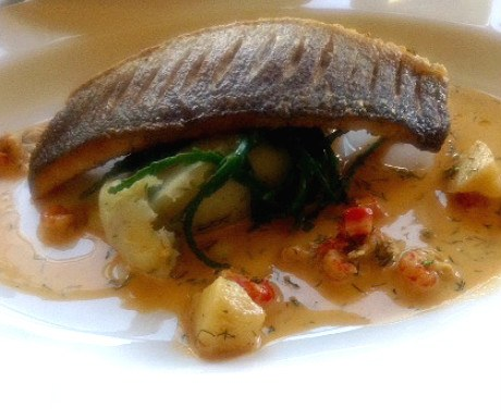 Sea bass with herb mash
