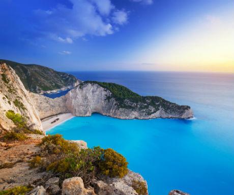Shipwreck beach sunset Zakynthos Island Greece