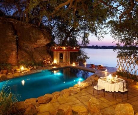 Candelit dinner at Tongabezi Lodge Victoria Falls