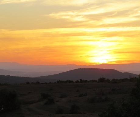 Colourful sunset in Addo Elephant National Park, South Africa