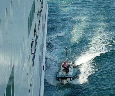 Pilot approaching the ferry