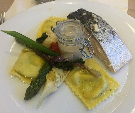 Roasted organic Scottish salmon in a shellfish kari gosse sauce
