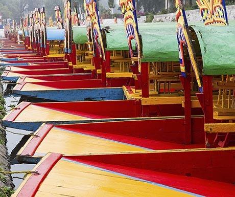 Colourful Mexican gondolas at Xochimilco's Floating Gardens