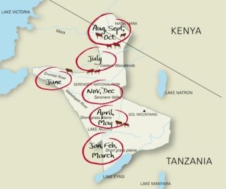 wildebeest migration map Africa