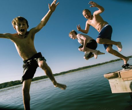 Children jumping off the dock at Hilton Head