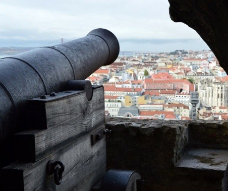 Canon at Sao Jorge Castle, Lisbon, Portugal