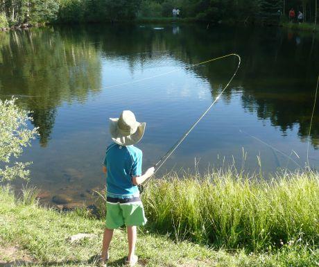 Child fishing at Tumbling River