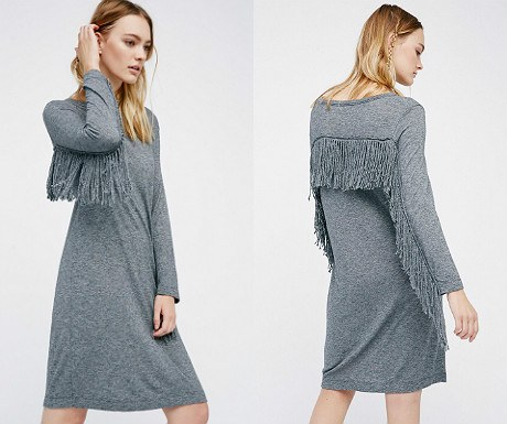 Winter fringe T-shirt dress