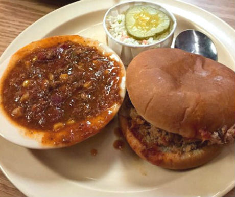 Old Hickory House Pork Sandwich and Stew