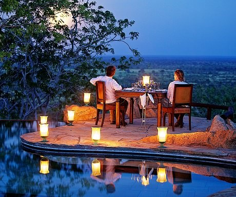 Poolside dining At Elsa Kopje in Meru National Park
