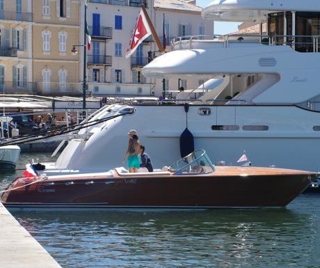 Classic Riva boat in St Tropez