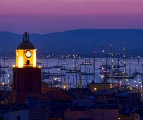 View of St Tropez citadel at dusk