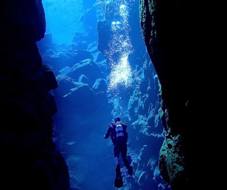 Diving in Silfra Iceland