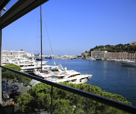 View of Monaco port from Hotel Miramar